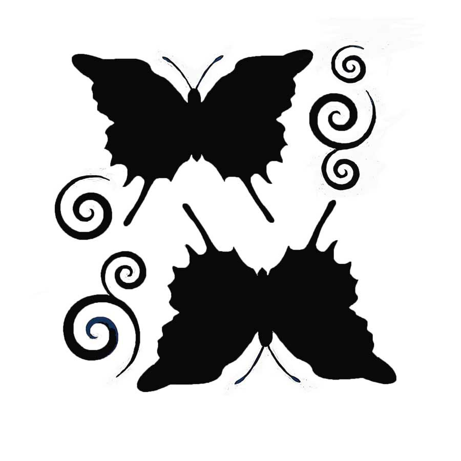 Vinyl Solid Butterfly with Swirls