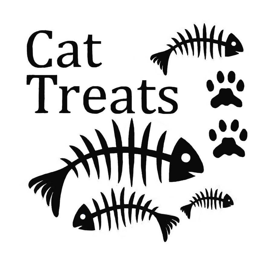 Vinyl Cat Treats Fish Bones and paws
