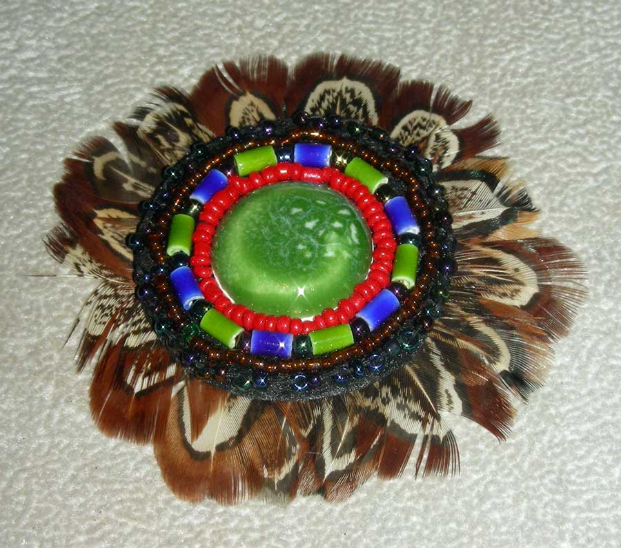 Feather Rosette W/Cab Green