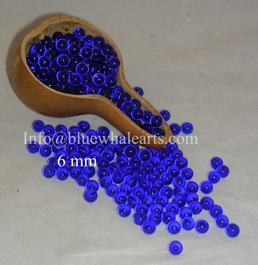 gourd beads no hole 6mm dark blue