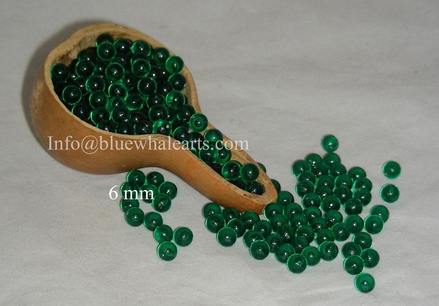 Gourd Beads Dark Green 6mm no hole