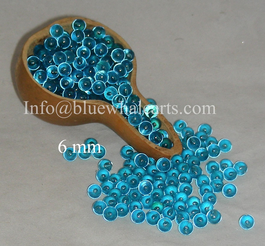 Gourd Light Beads - no hole teal 6mm