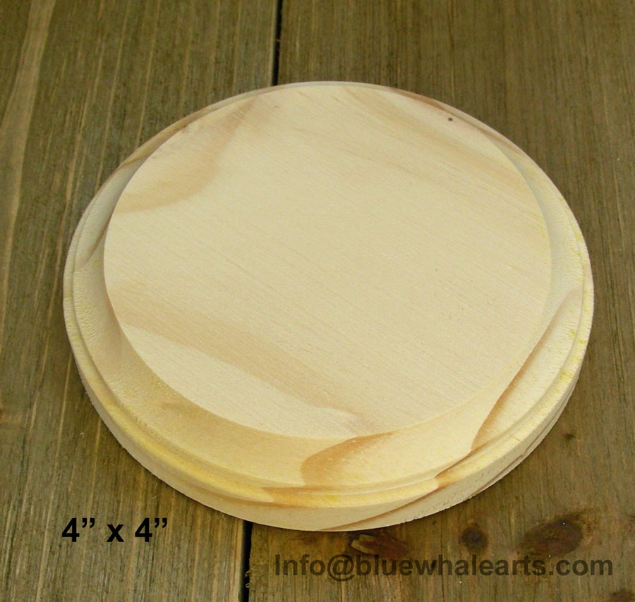 Round wood Base plaque 4 inch