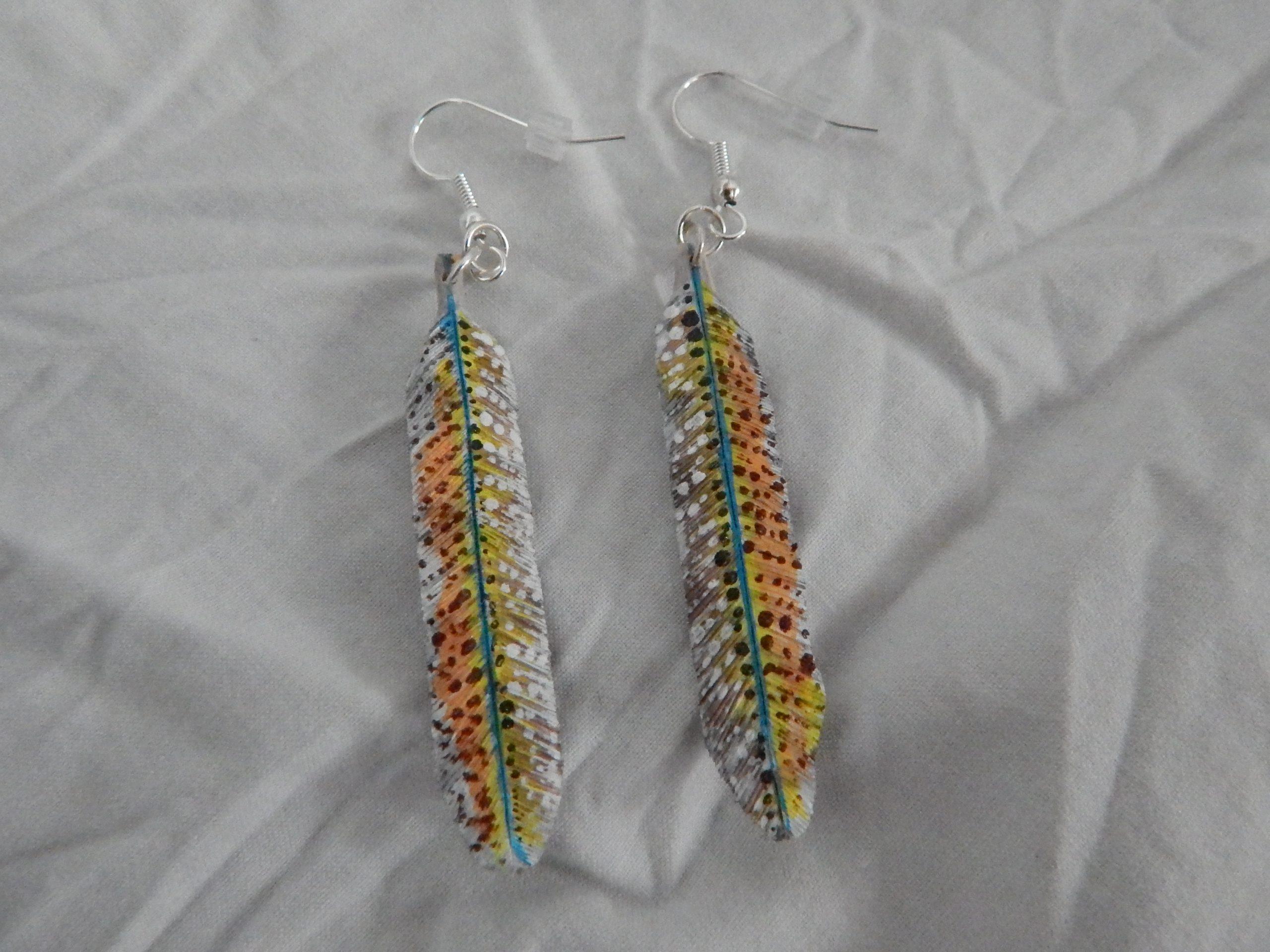 Karen Brown Feather Earrings