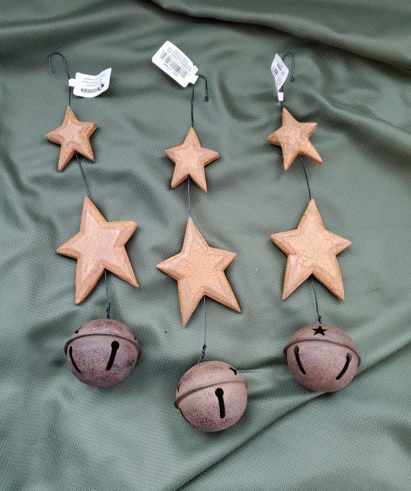 Folk Art Stars and bells ornament